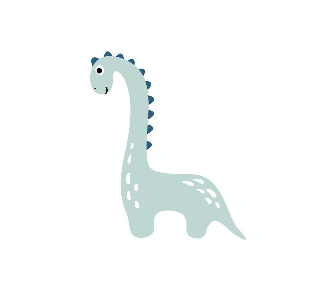 petit dinosaure mignon. illustration vectorielle scandinave pour colorier dessin dessin animé image. image de dino bleu enfants isolé sur blanc. bébé reptile monstre pour impression, livre, affiche, bannière à colorier vecteur