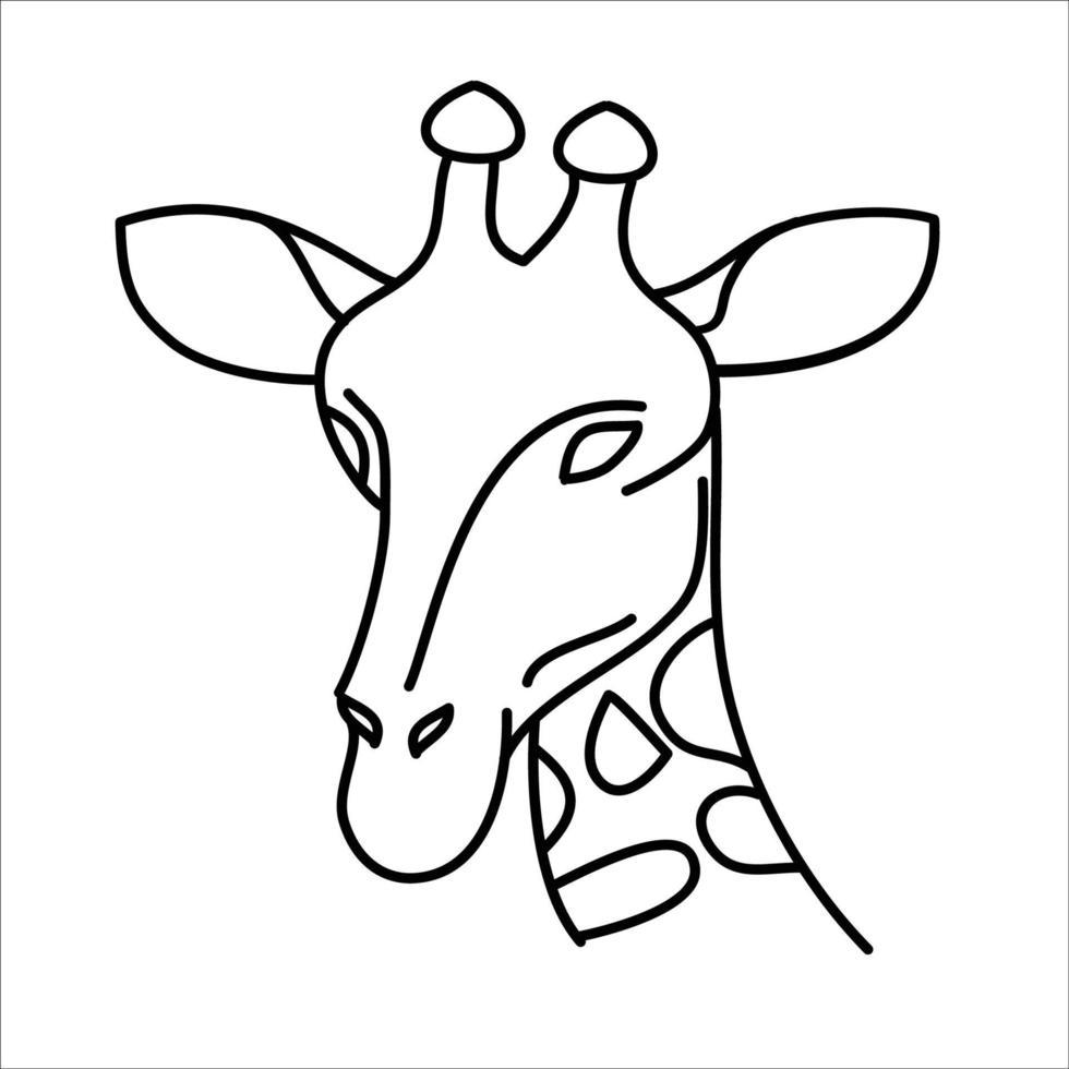 conception d'icône animal girafe. vecteur, clipart, illustration, style de conception d'icône de ligne. vecteur