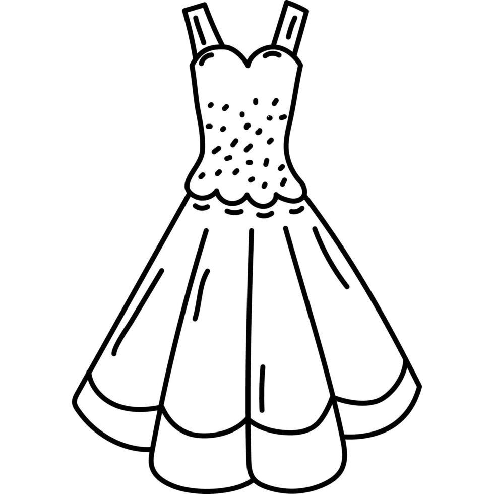 icône de robe. doddle style d'icône de contour dessiné à la main ou noir. icône de vecteur