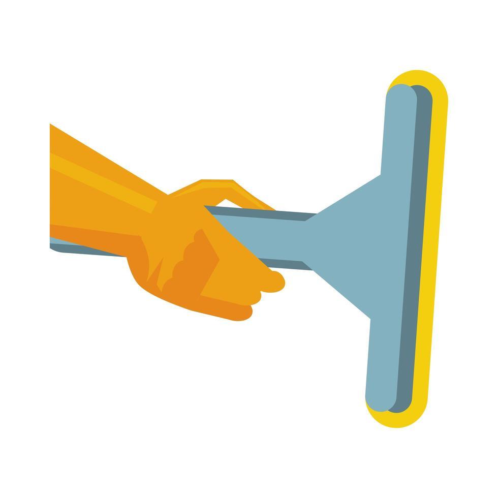 main avec verre de nettoyage de gant en caoutchouc vecteur