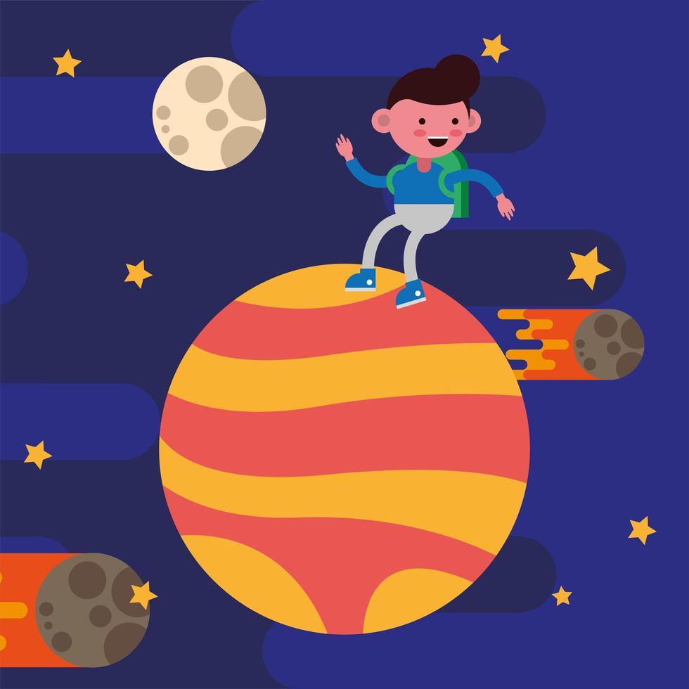 petit garçon étudiant sur une planète vecteur