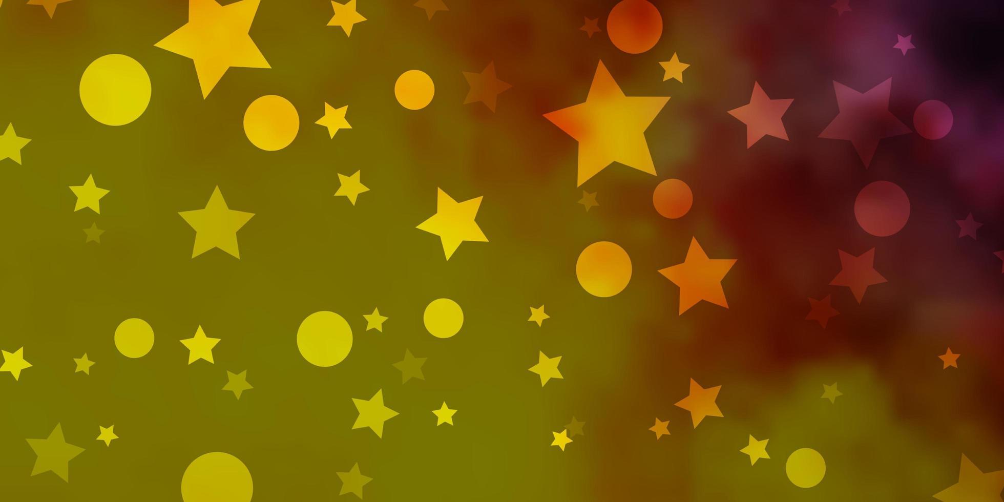 toile de fond de vecteur rose clair, jaune avec des cercles, des étoiles.