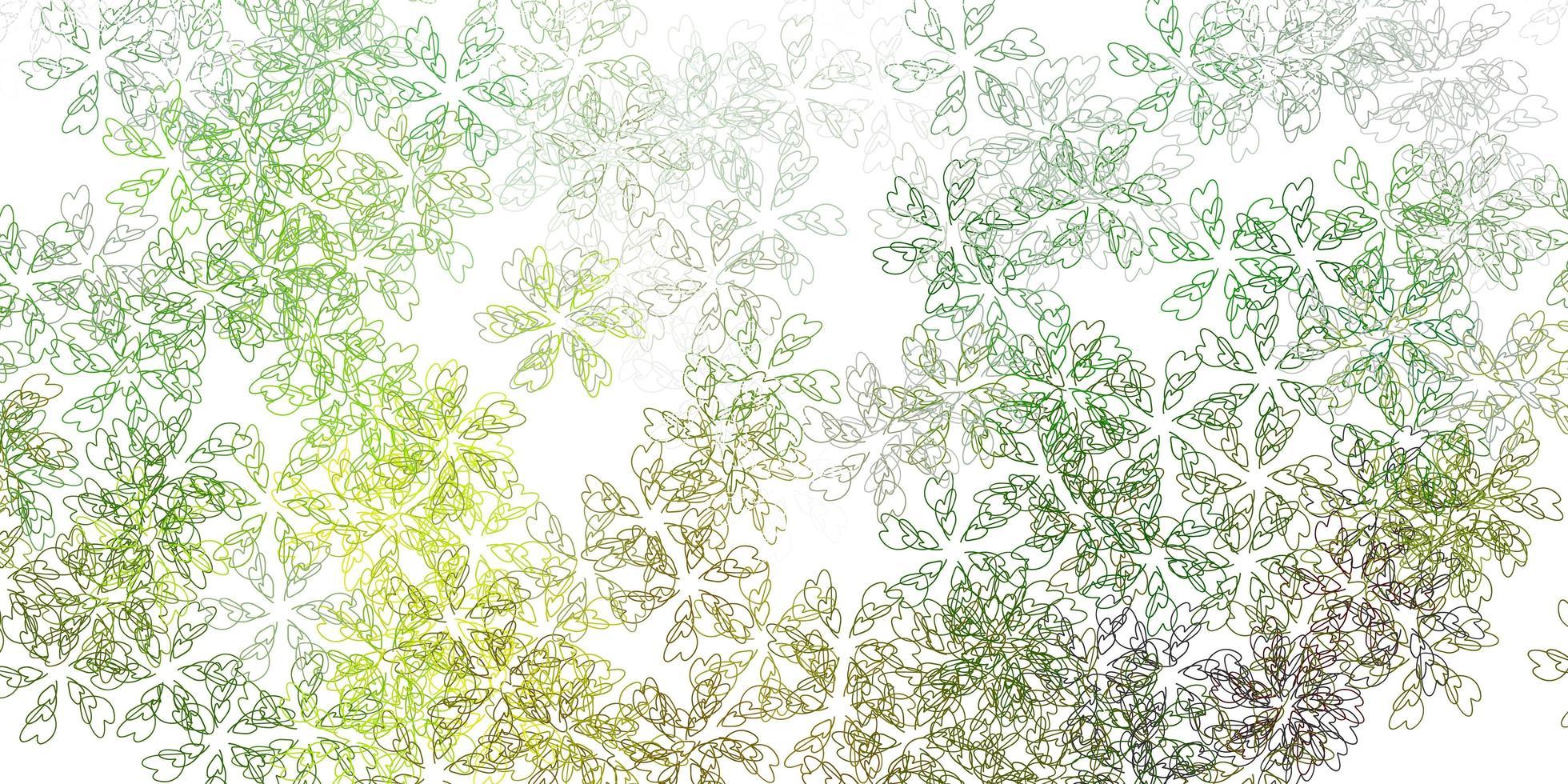 toile de fond abstraite de vecteur vert clair, jaune avec des feuilles.