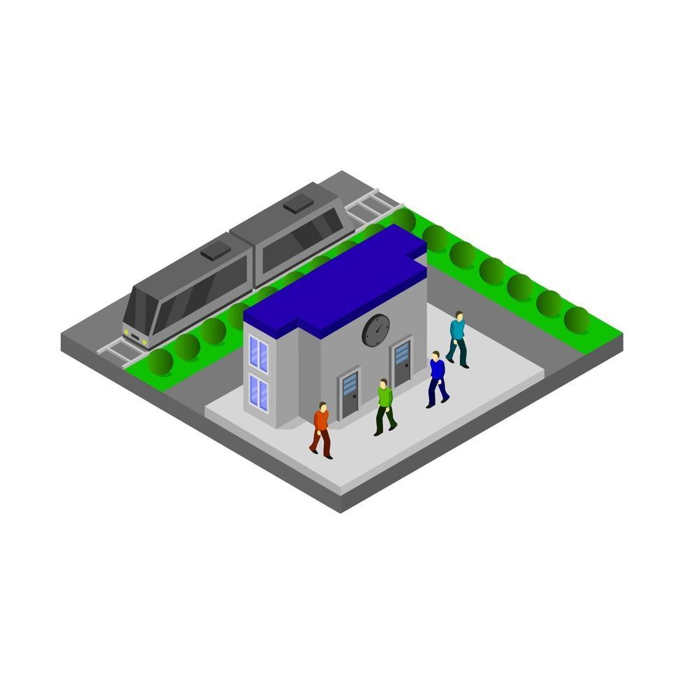 gare isométrique sur fond blanc vecteur