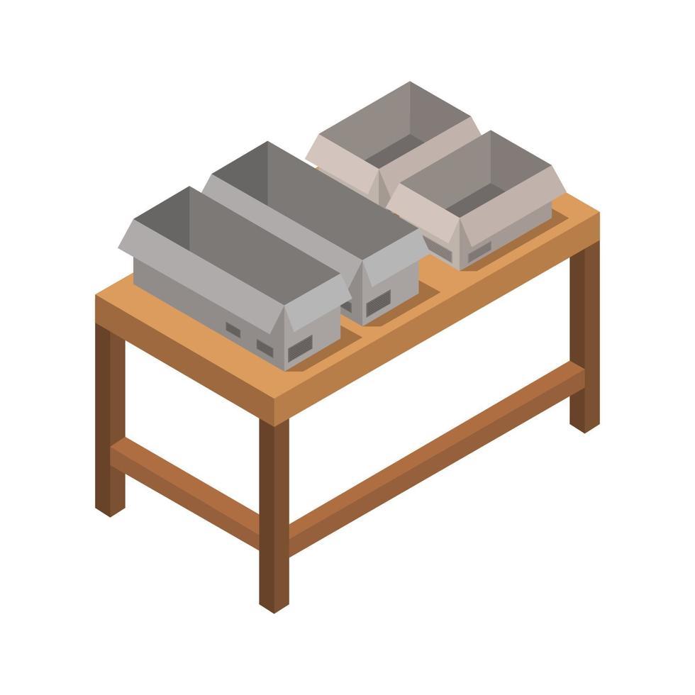 table avec des boîtes isométriques sur fond blanc vecteur