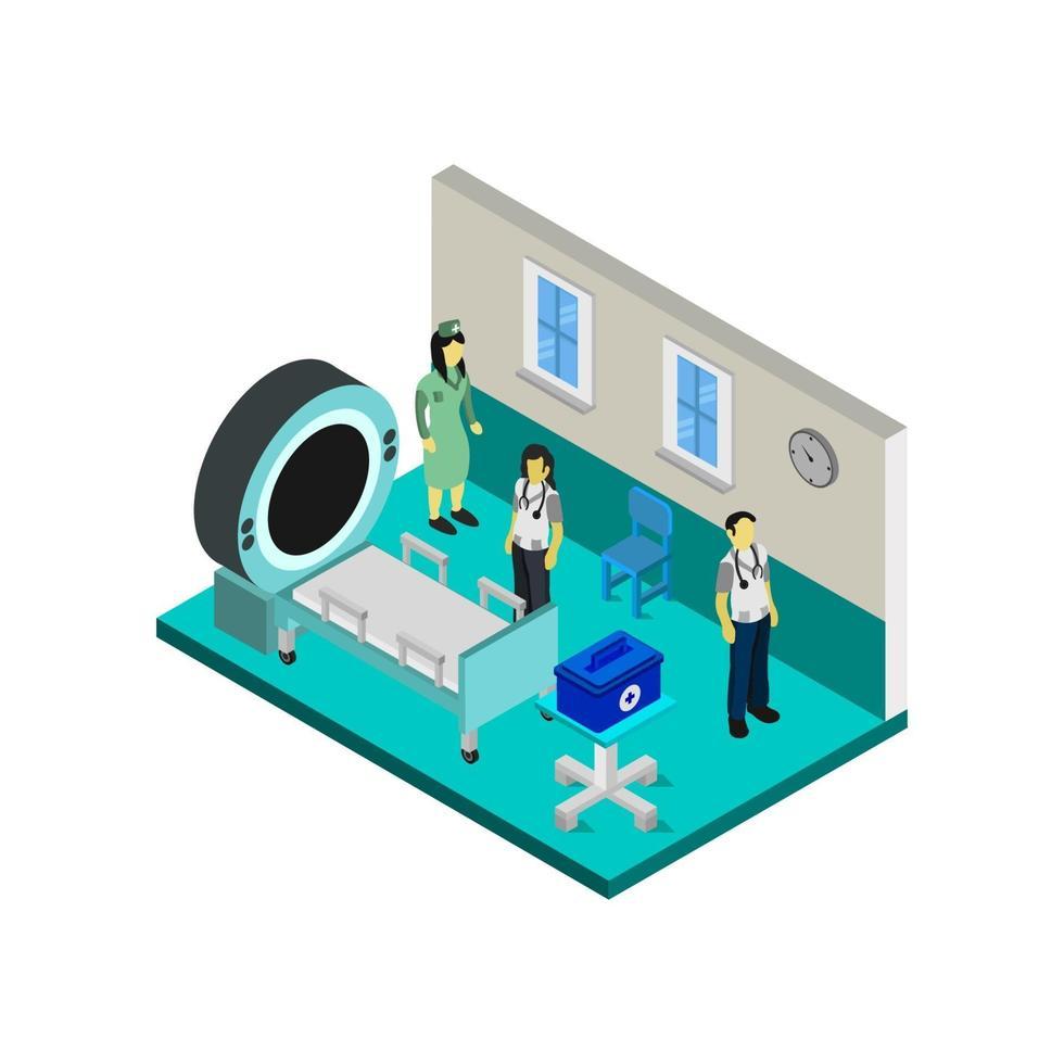 chambre d'hôpital isométrique sur fond blanc vecteur