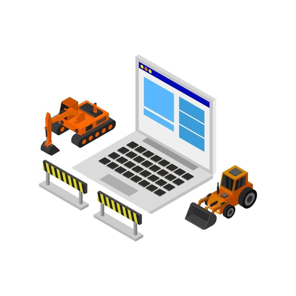 site Web en construction isométrique sur fond blanc vecteur
