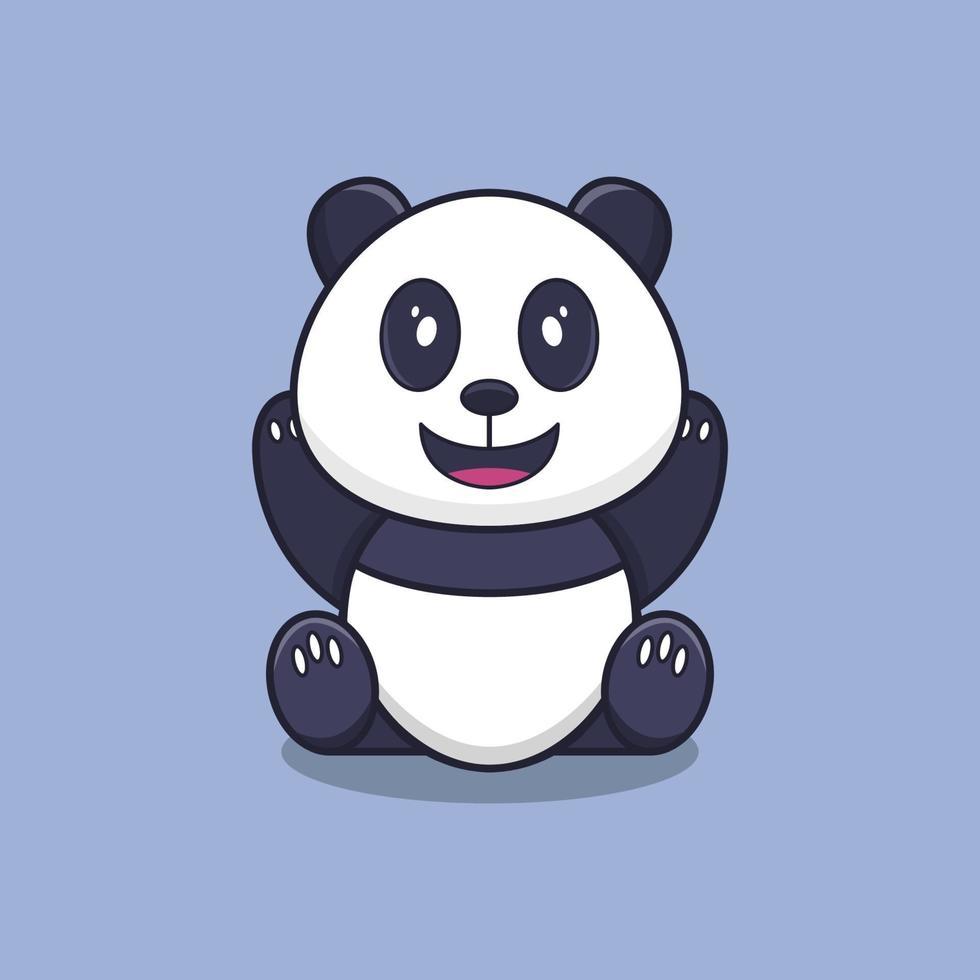 panda illustré sur fond vecteur