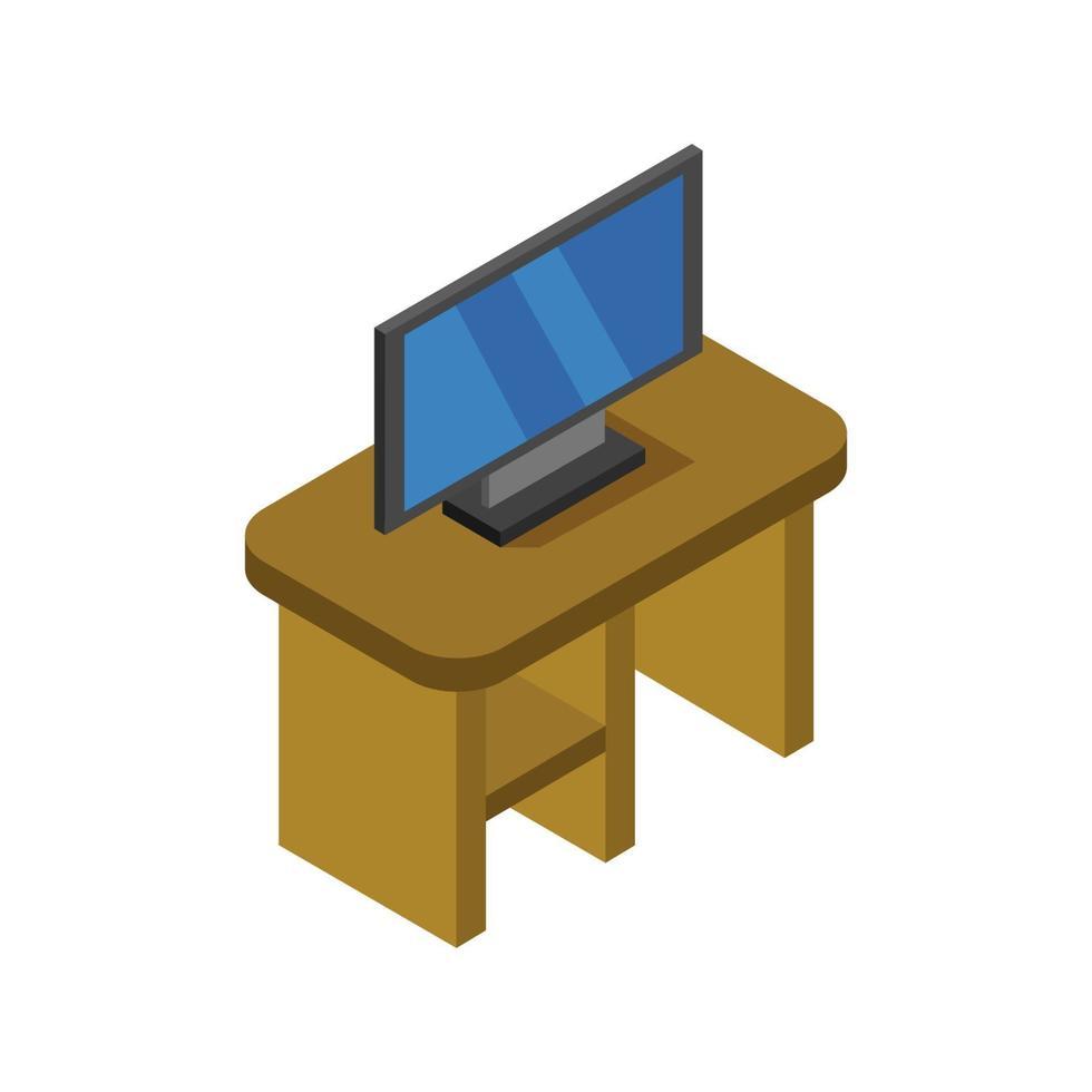 table avec télévision isométrique sur fond blanc vecteur
