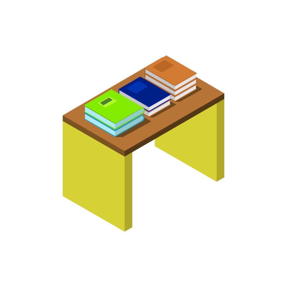 table avec des livres isométriques sur fond blanc vecteur