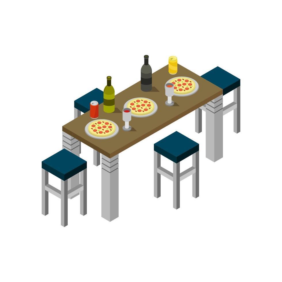 table de cuisine isométrique sur fond blanc vecteur
