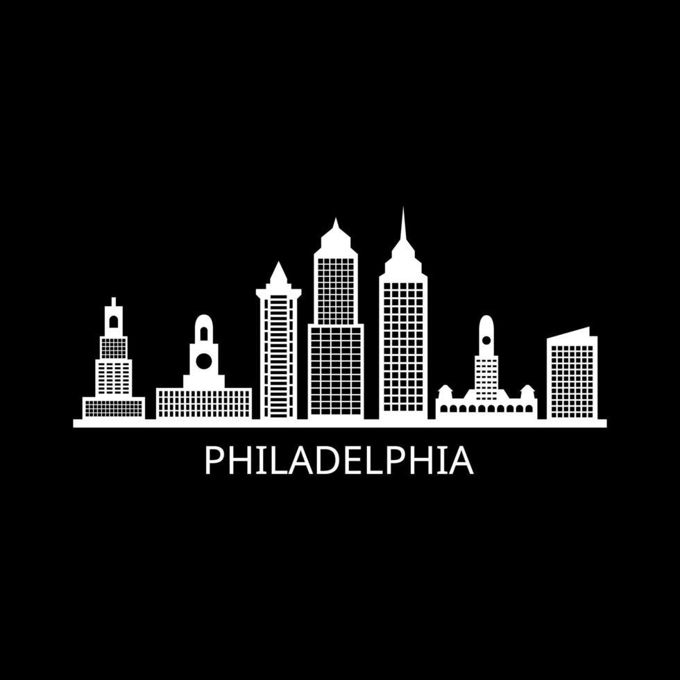 Skyline de Philadelphie sur fond illustré vecteur