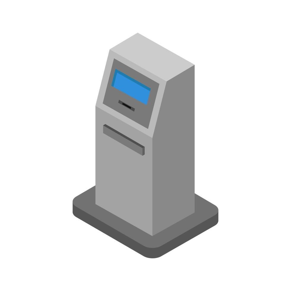 ATM banque isométrique illustrée sur fond blanc vecteur