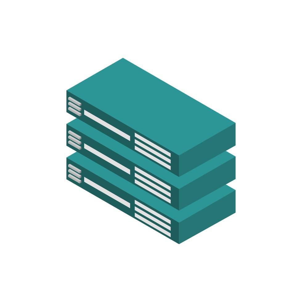 serveur isométrique illustré sur fond blanc vecteur