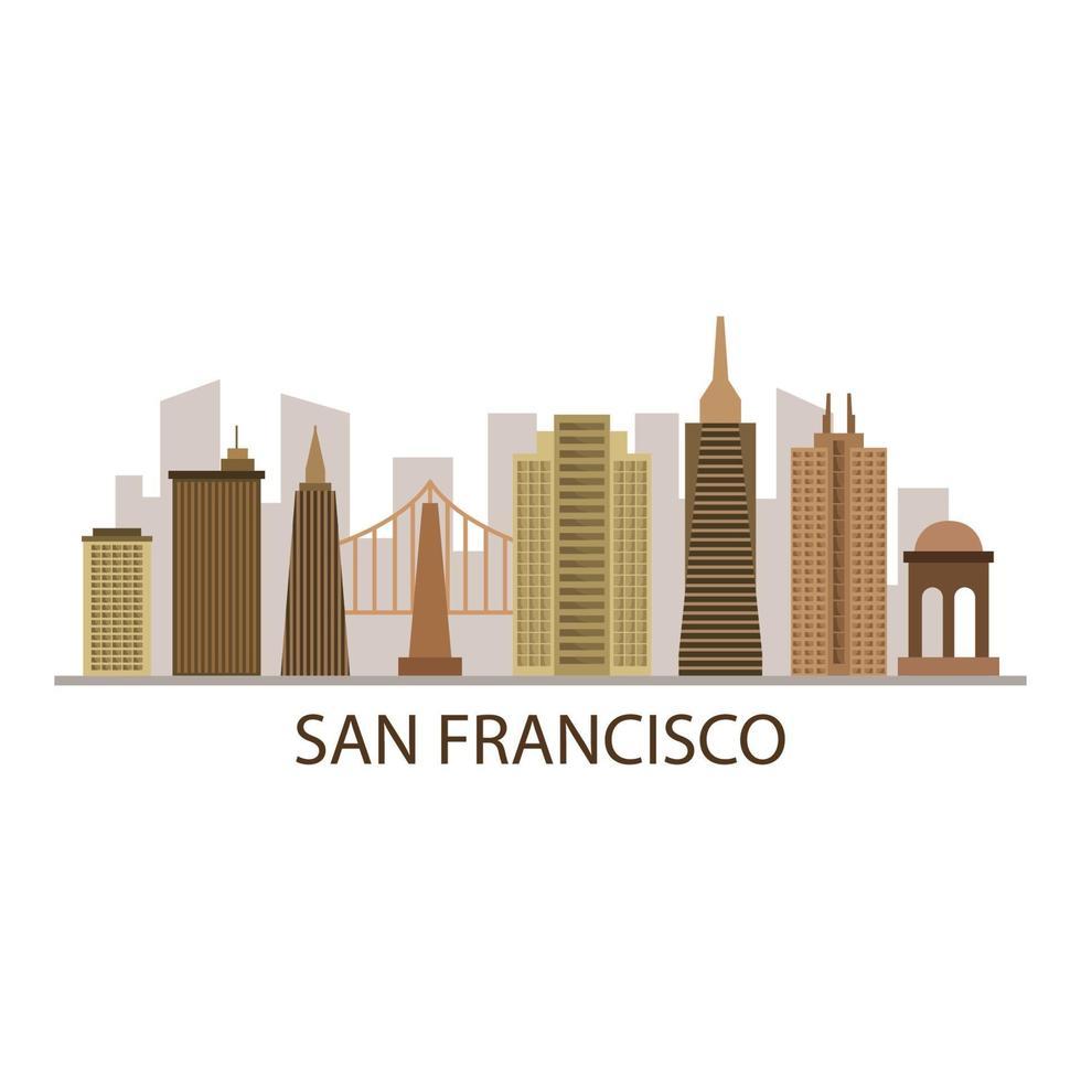 Skyline de San Francisco illustré sur l'arrière-plan vecteur