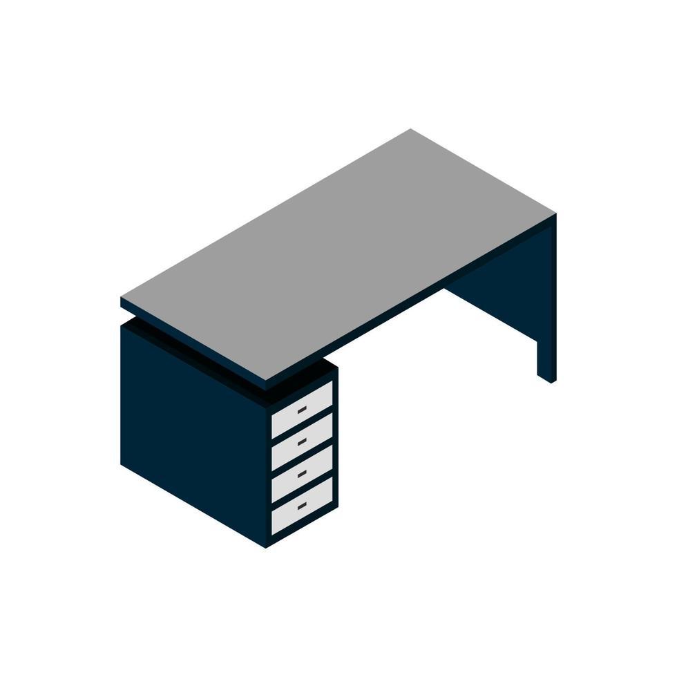 bureau isométrique illustré sur fond blanc vecteur