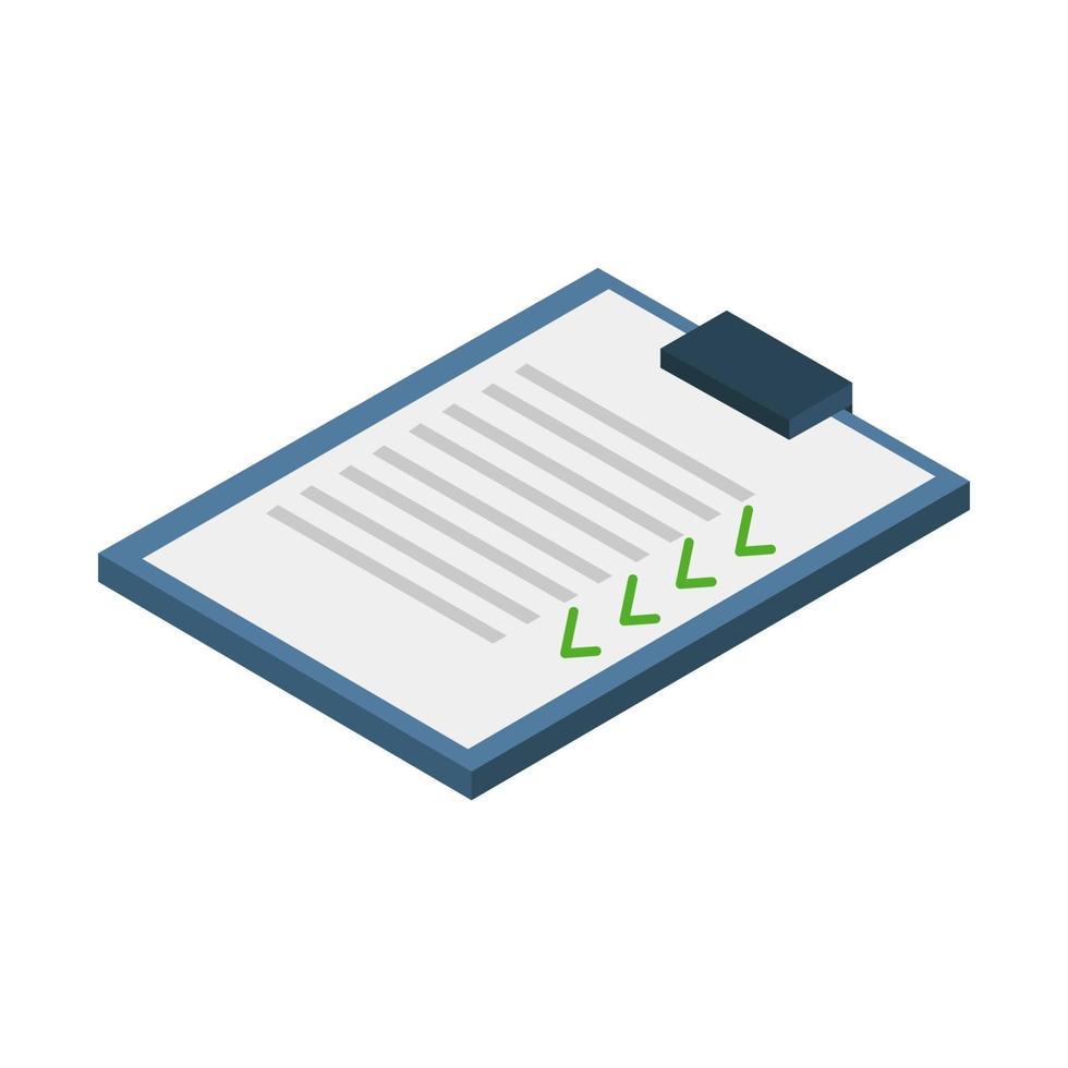 liste de contrôle isométrique illustrée sur fond blanc vecteur