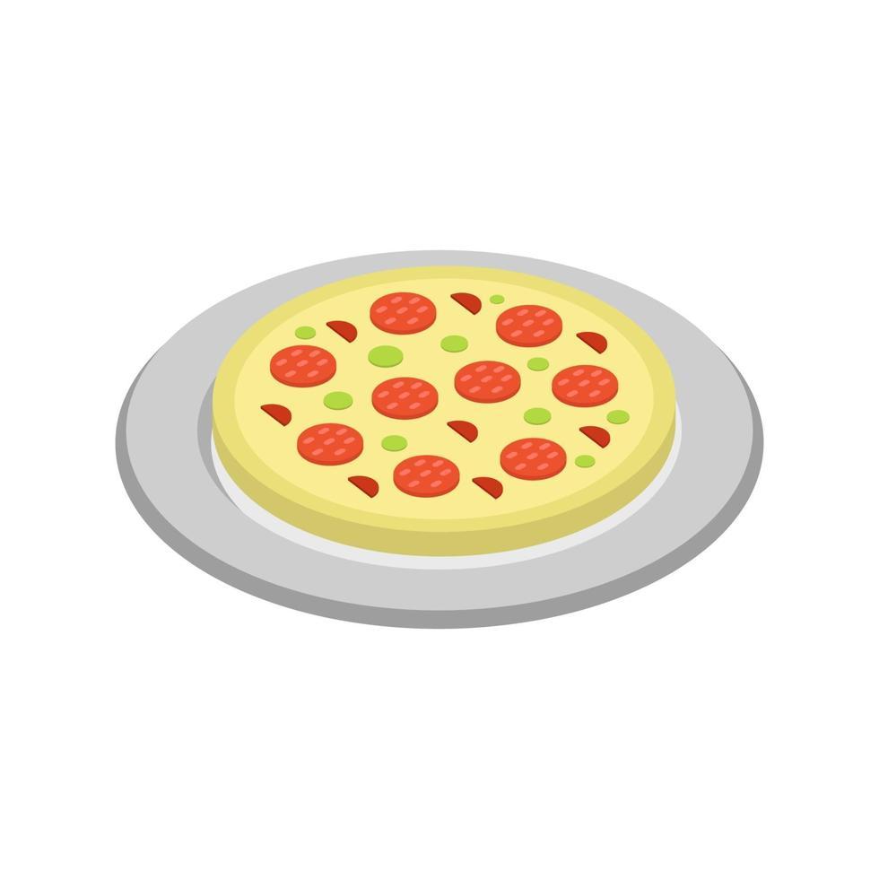 pizza isométrique sur fond blanc vecteur