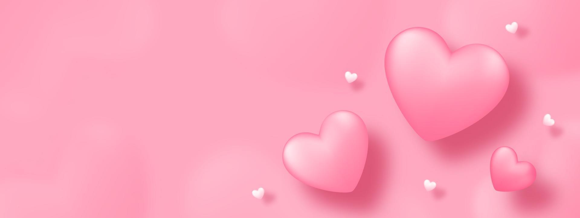 art de papier avec coeur sur fond rose. conception de concept d'amour pour la fête des mères heureuse, la Saint-Valentin, le jour de l'anniversaire. conception de modèle de bannière et de voeux. vecteur
