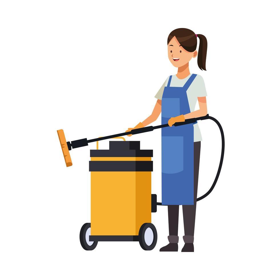 Femme de ménage avec aspirateur vecteur