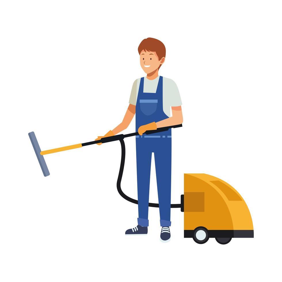 travailleur de ménage masculin avec aspirateur vecteur