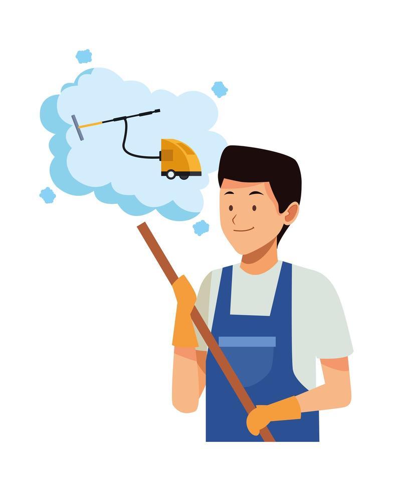 Homme de ménage avec balai pensant à l'aspirateur vecteur