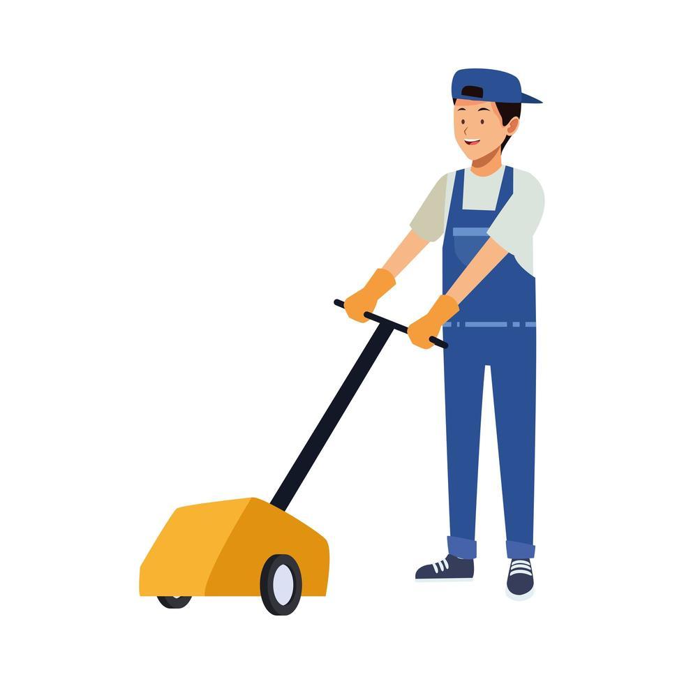Homme de ménage avec polisseur de sol vecteur
