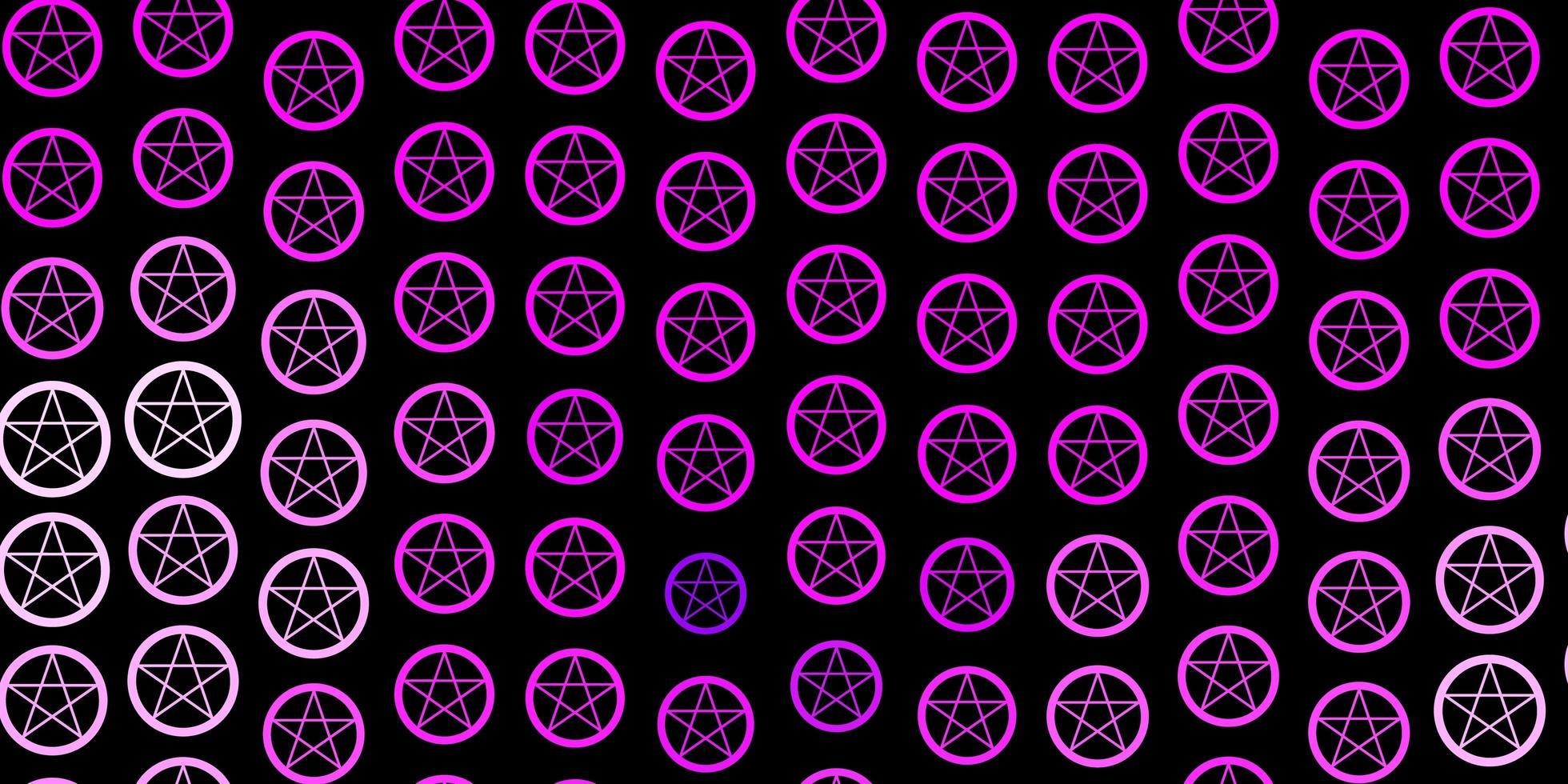 toile de fond de vecteur violet foncé avec des symboles mystérieux.
