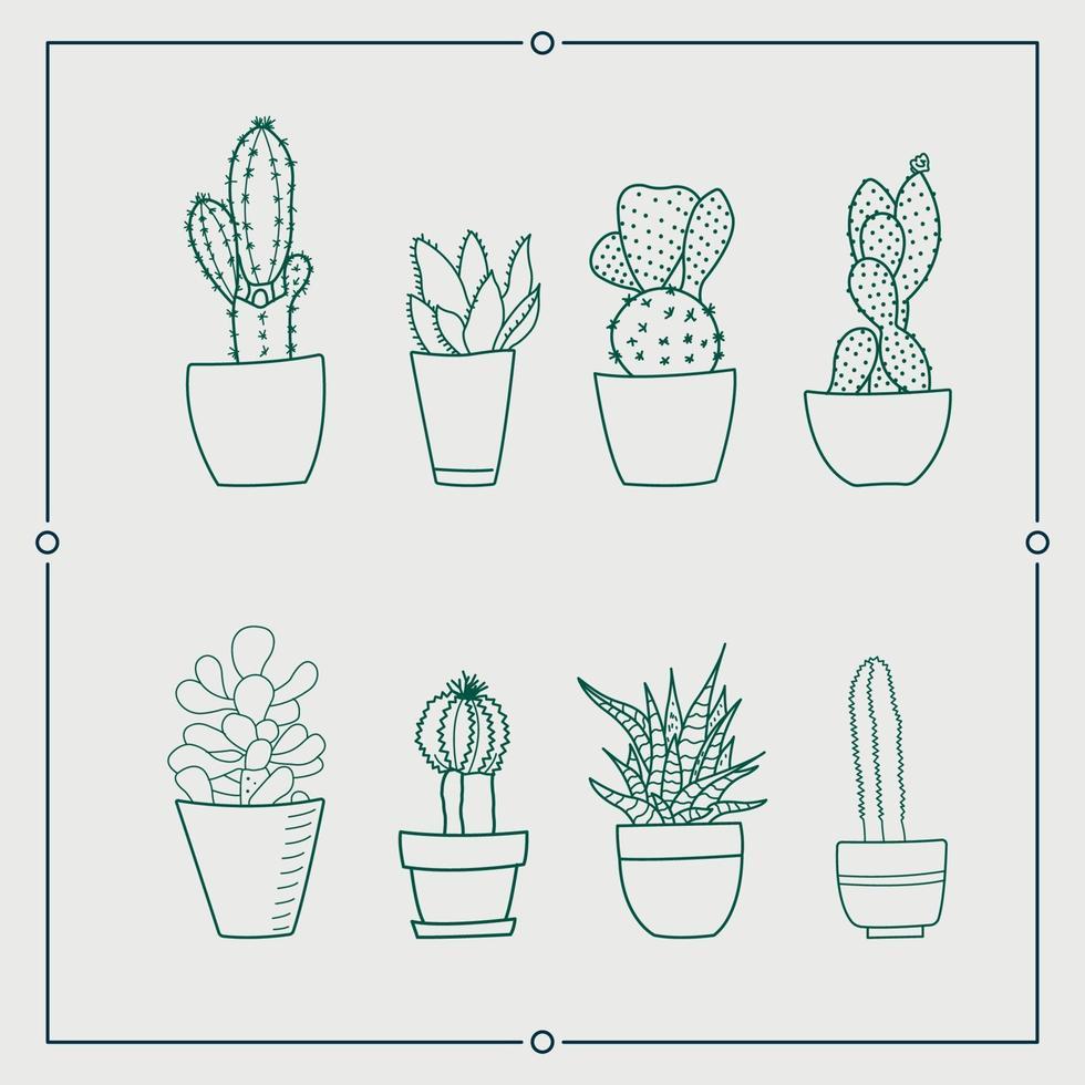 cactus vert dans un ensemble d'illustrations vectorielles pot vecteur
