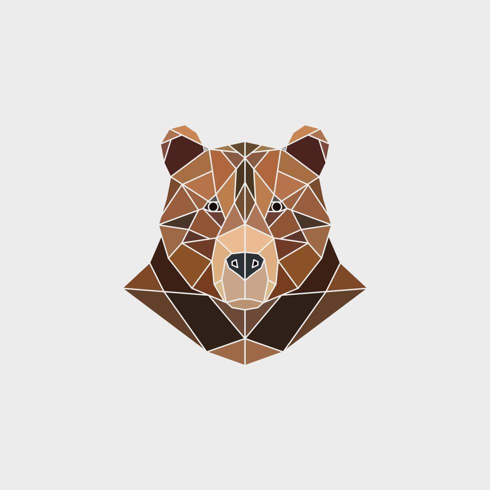 portrait de l'ours brun. conception polygonale abstraite. vecteur