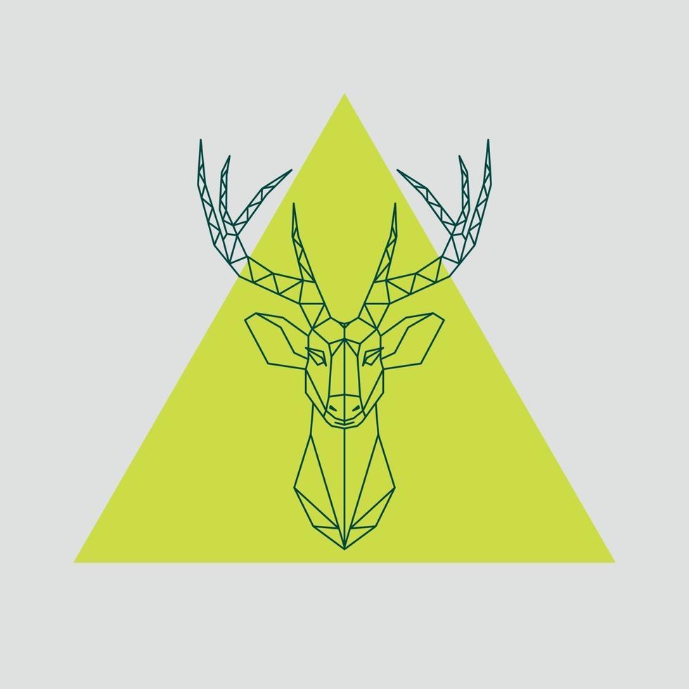 dessin au trait vecteur low poly. illustration de renne tête géométrique.