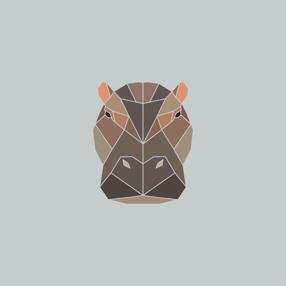 Hippopotame polygonal, animal tête de triangle polygonal vecteur