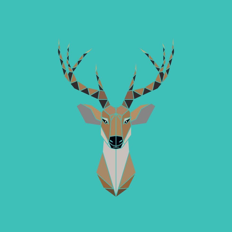 résumé de tête de cerf isolé sur un fond vert. style géométrique. vecteur