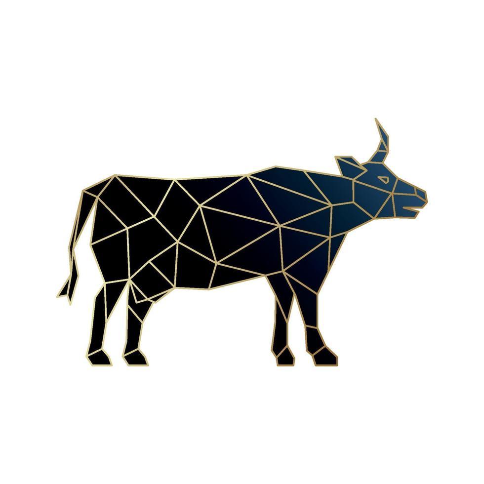icône de vache polygonale isolé sur fond blanc. emblème de vache géométrique noir avec contour doré. vecteur