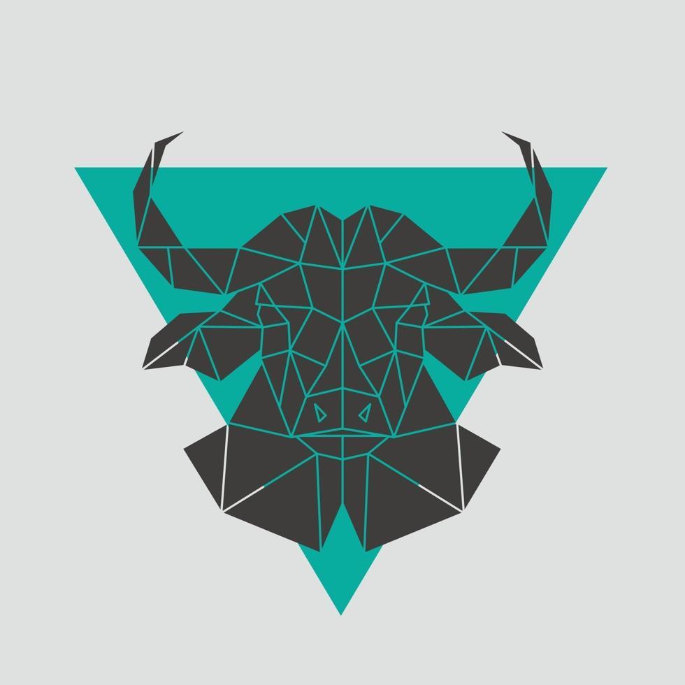 icône de tête de buffle. style polygonal géométrique. vecteur