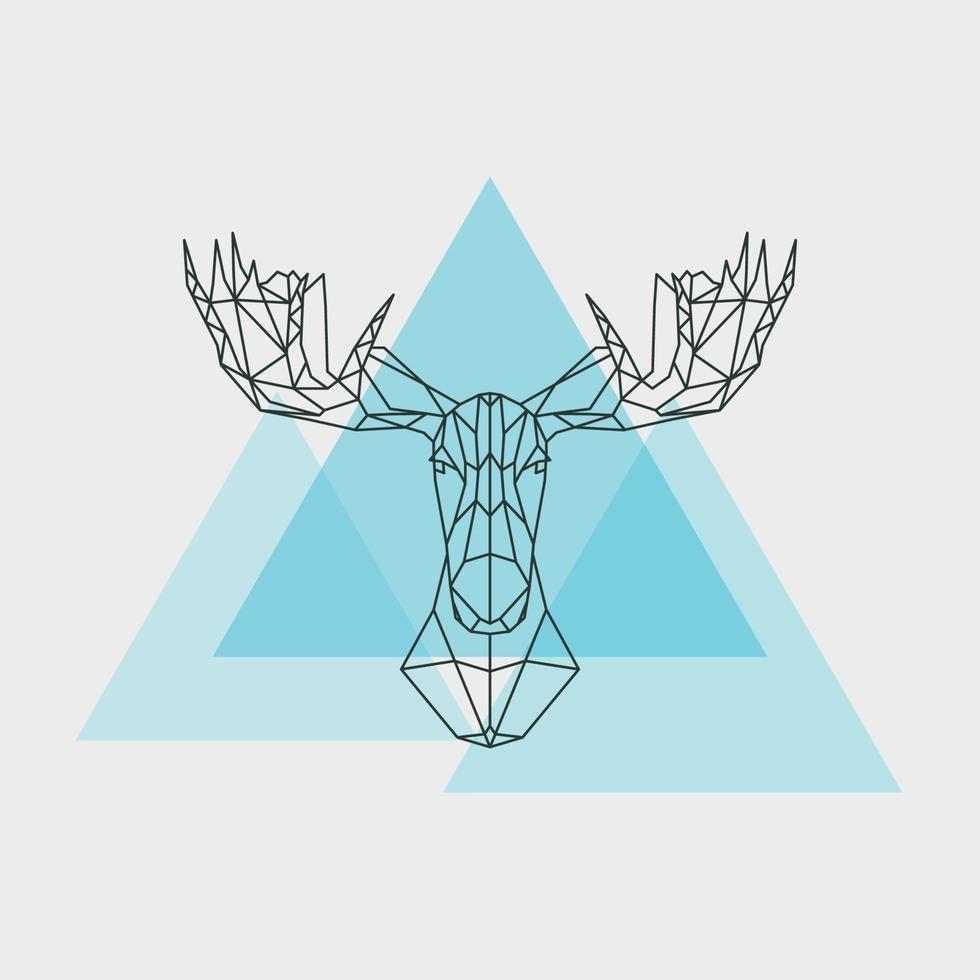 lignes géométriques de tête de wapiti isolés sur fond blanc. vecteur