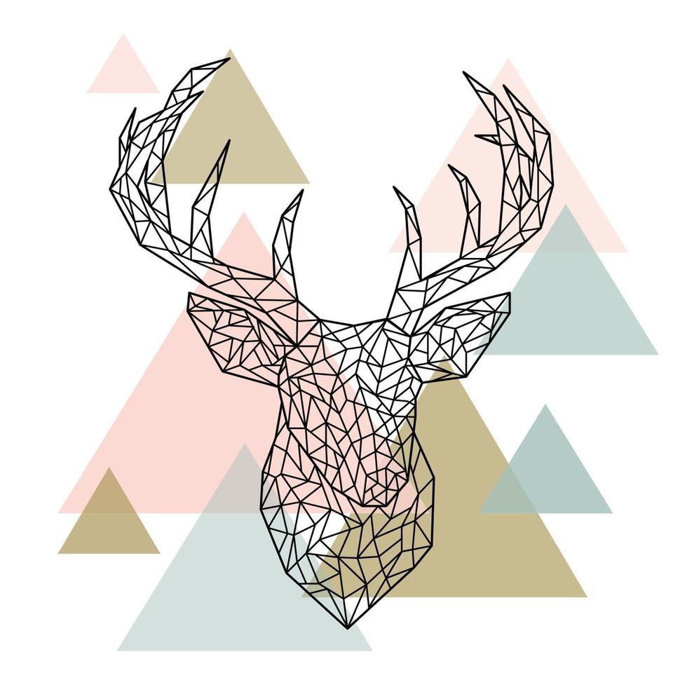 portrait de cerf tête polygonale. style scandinave. vecteur