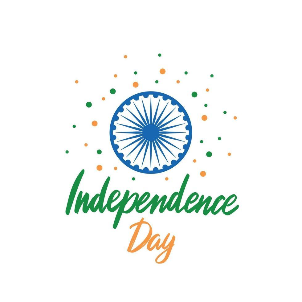 carte de voeux avec lettrage pour célébrer la fête de l'indépendance de l'inde, 15 août. impression festive indienne. vecteur