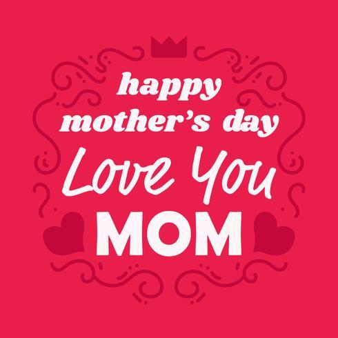 Bonne fête des mères, carte de l'amour vous maman vecteur