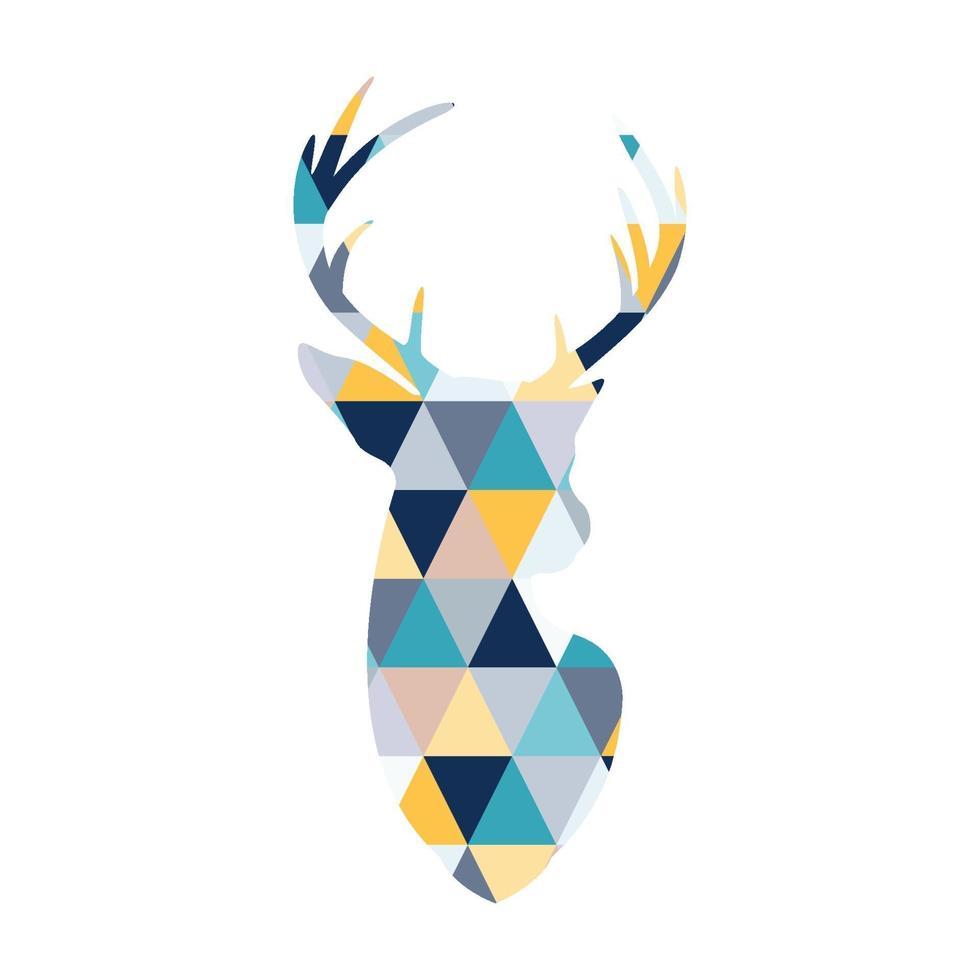 la tête du cerf scandinave. triangles multicolores. vecteur