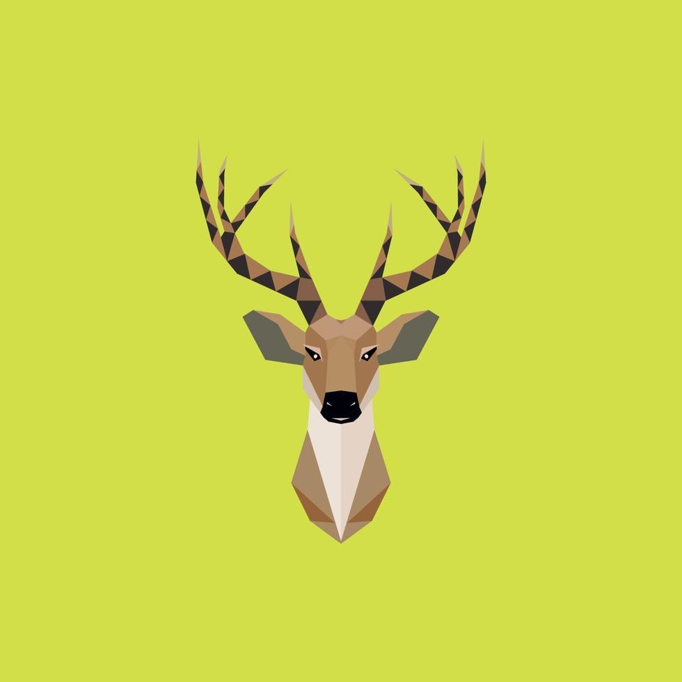 tête de cerf multicolore en illustration géométrique de beauté lowpoly. vecteur