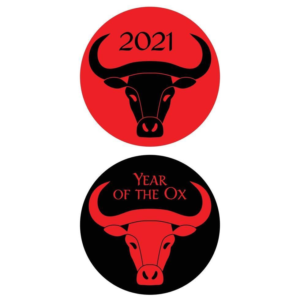 année noire rouge du boeuf graphiques de cercle du nouvel an chinois vecteur