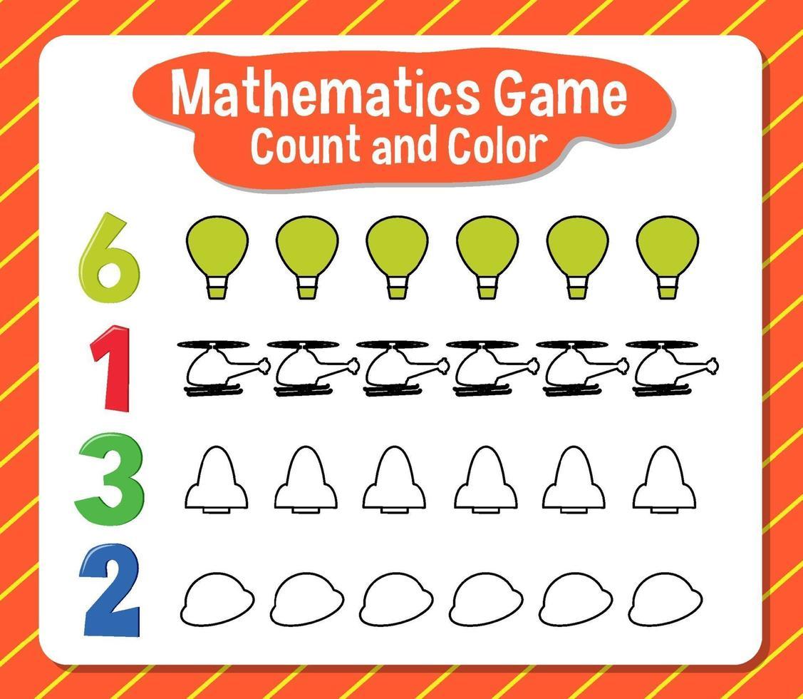 Comptage des jeux de mathématiques et feuille de calcul des couleurs vecteur