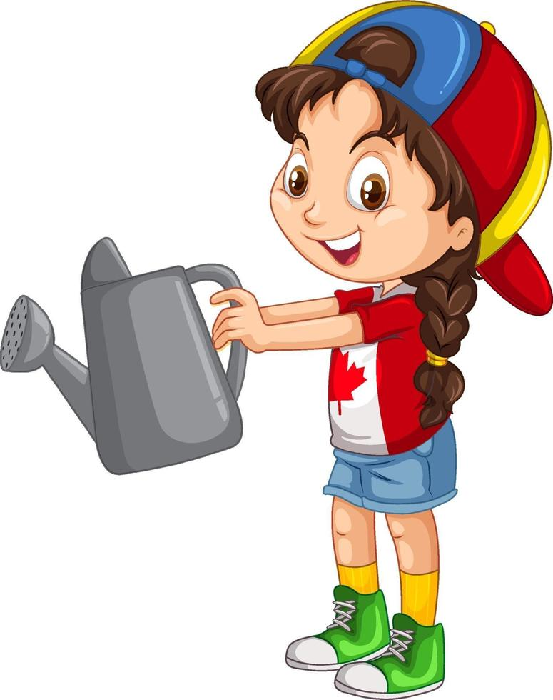 fille canadienne tenant un arrosoir gris vecteur