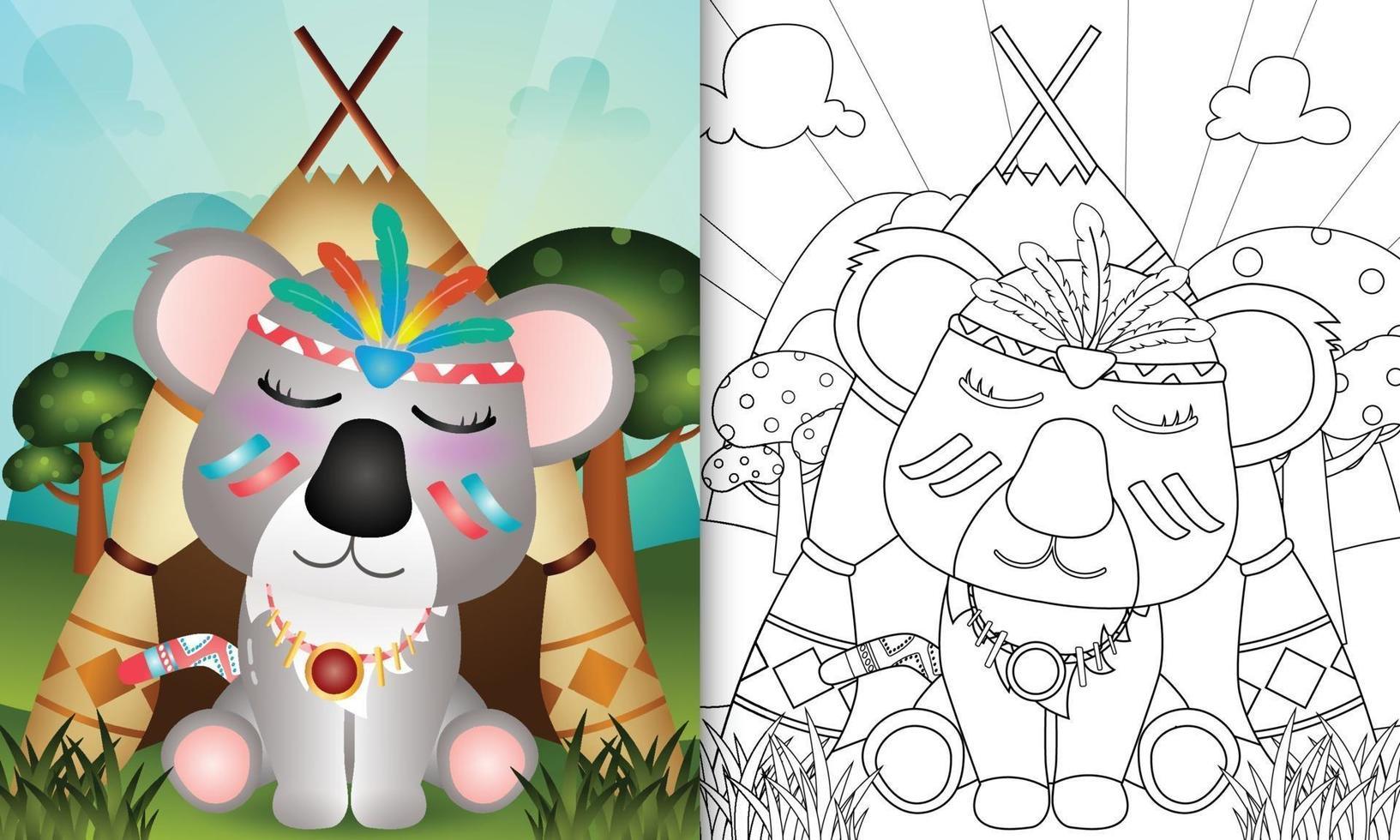 modèle de livre de coloriage pour les enfants avec une illustration de personnage koala tribal boho mignon vecteur