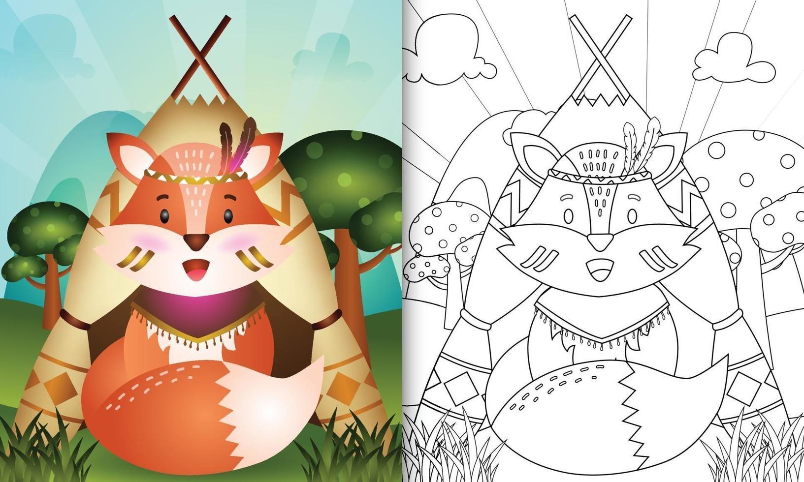 modèle de livre de coloriage pour les enfants avec une illustration de personnage de renard boho tribal mignon vecteur