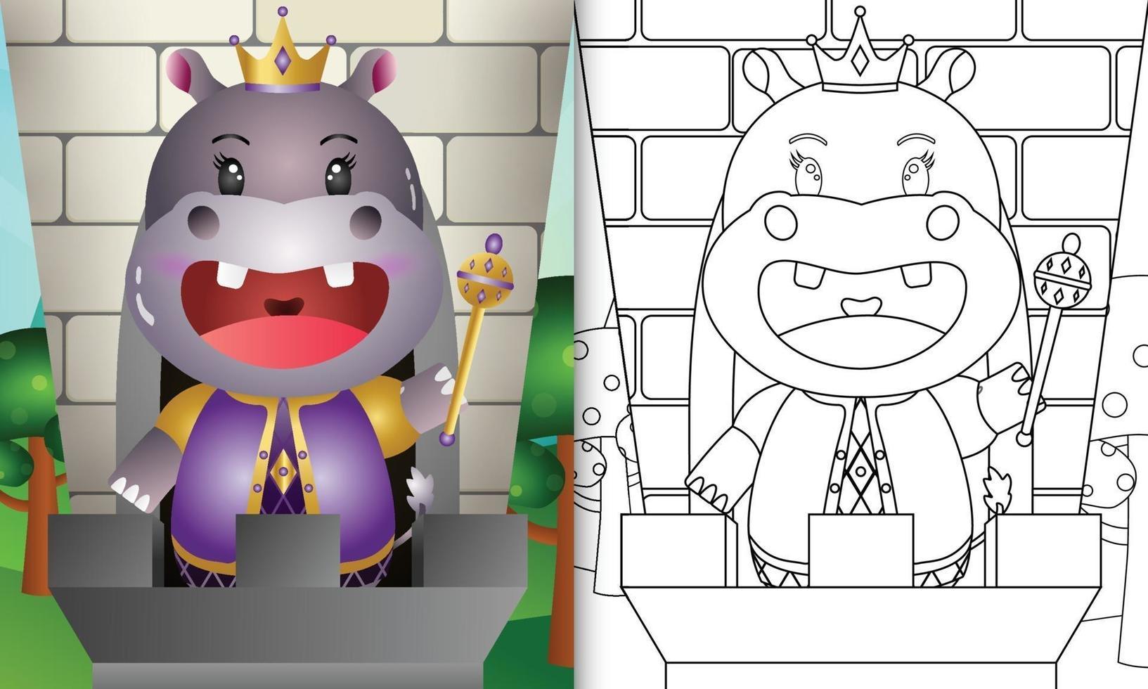 modèle de livre de coloriage pour les enfants avec une illustration de personnage mignon roi hippopotame vecteur