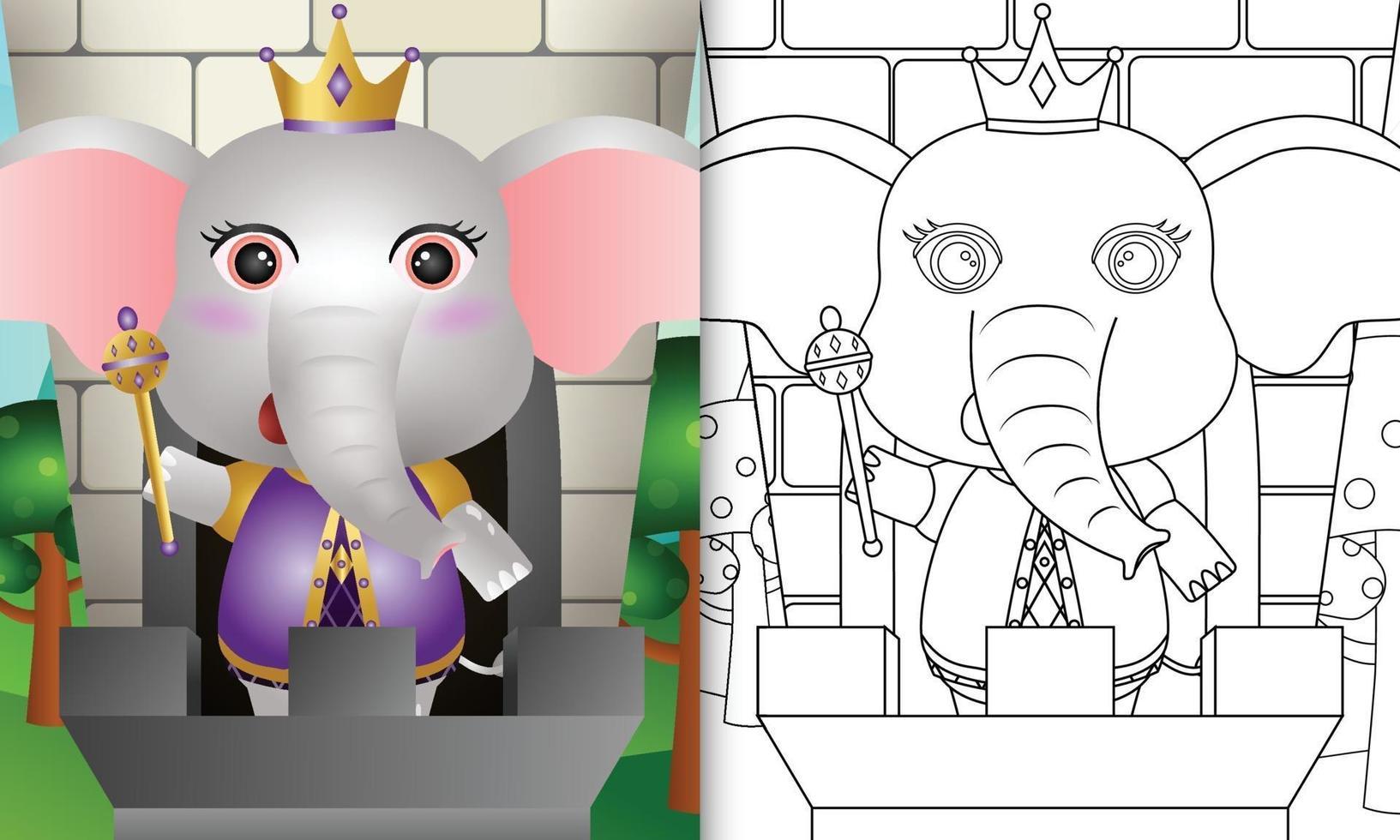 modèle de livre de coloriage pour les enfants avec une illustration de personnage d'éléphant roi mignon vecteur