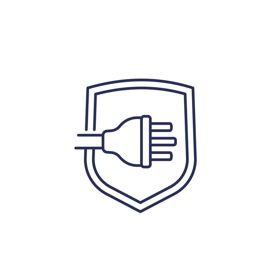 prise électrique britannique avec icône de ligne de bouclier vecteur