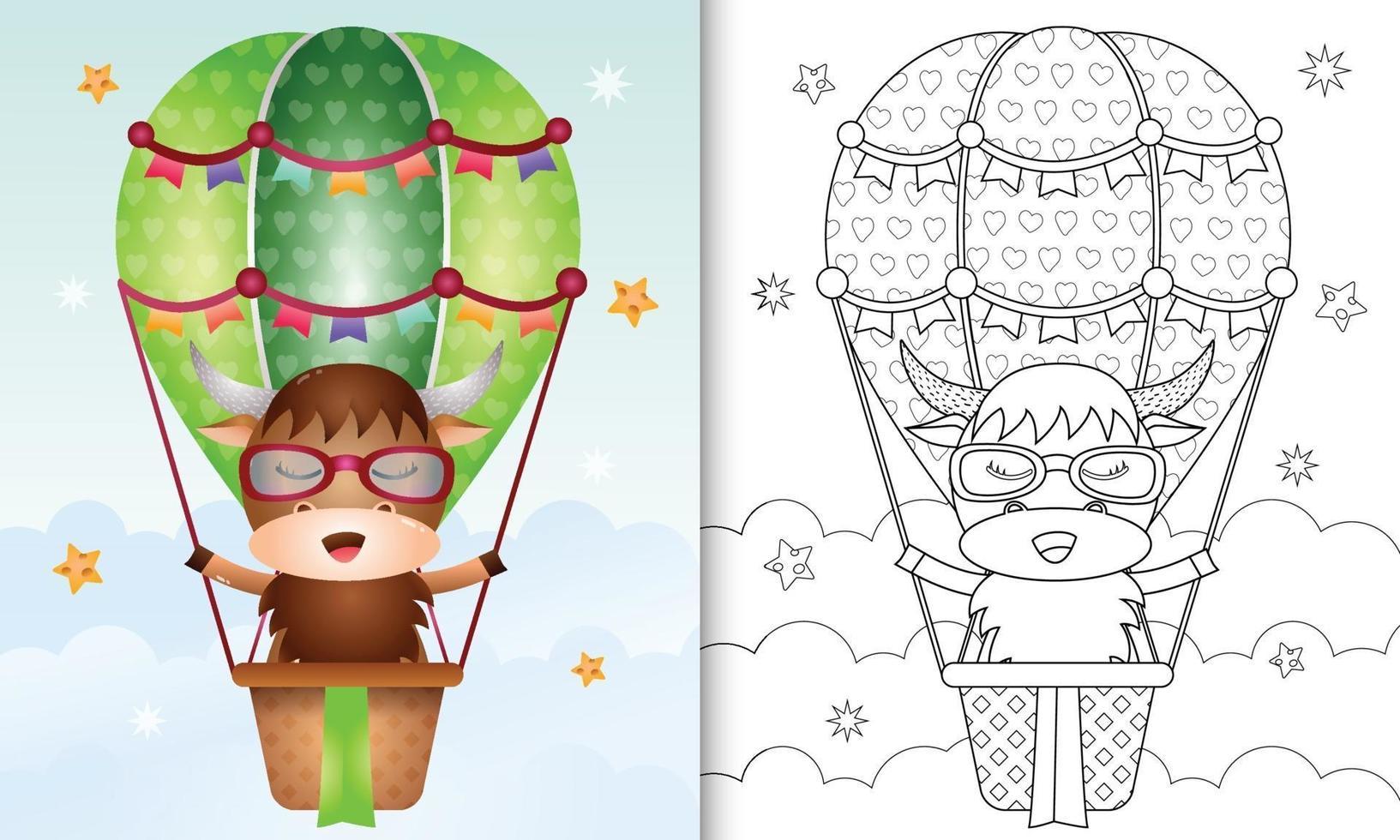 modèle de livre de coloriage pour les enfants avec un buffle mignon sur ballon à air chaud vecteur